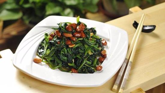 陈醋菠菜花生米做法