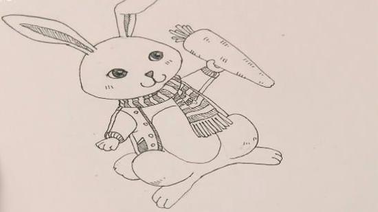 怎么画卡通兔子