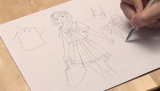 穿校服的女生怎么画