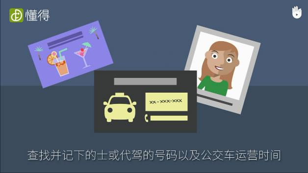 交通安全:驾驶前须知-预计会喝酒应提前计划好如何回家