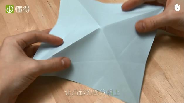 少儿折纸海豹-让凸起的折痕向上