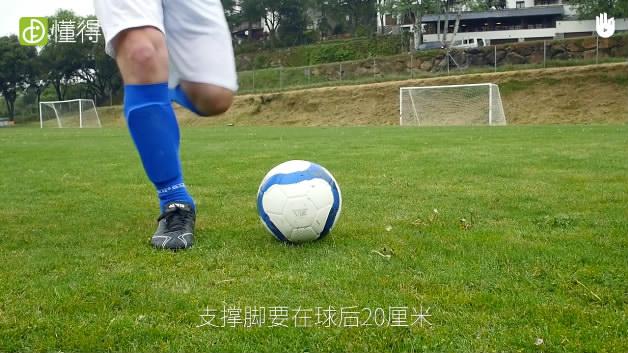 足球射门动作要领Ⅳ:足球脚外侧踢球-支撑脚的位置要在球后20厘米